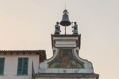 Bell named I macc de le ure or the madmen of the hours in Piazza della Loggia, Lombardy, Italy