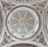 BRESCIA, ITALY, 2016: The baroque cupola of Duomo Nuovo withe the reliefs of The Four Evangelists. BRESCIA, ITALY - MAY 22, 2016: The baroque cupola of Duomo Stock Photos