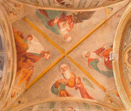 BRESCIA, ITALY, 2016: The ceiling fresco of Four Evangelists in Chiesa di San Pietro in Olvieto (St. Barbara chapel) Stock Photos