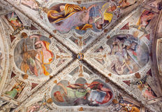 BRESCIA, ITALY, 2016: The ceiling fresco of Four Evangelists in side chapel of church Chiesa del Santissimo Corpo di Cristo Stock Images