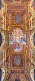 BRESCIA, ITALY, 2016: The ceiling fresco  with Glory of St. Faustino and Giovita and Bernardino Gandino Stock Photos