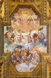 BRESCIA, ITALY, 2016: The ceiling fresco with Glory of St. Faustino and Giovita and Bernardino Gandino Royalty Free Stock Image