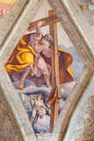 BRESCIA, ITALY, 2016: The ceiling fresco of Saint Andrew the Apostle in church Chiesa del Santissimo Corpo di Cristo Royalty Free Stock Photos