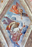 BRESCIA, ITALY, 2016: The ceiling fresco of Saint Matthew the Apostle in church Chiesa del Santissimo Corpo di Cristo Stock Images