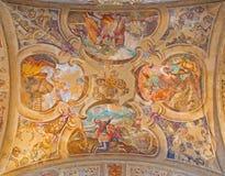 BRESCIA, ITALY, 2016: The ceiling frescoes from life of Moses in church Chiesa di Santa Maria del Carmine Royalty Free Stock Photo