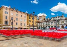 Brescia, Italy: The central square of Brescia Piazza della Loggia. Brescia - July 2017, Italy: The central square of Brescia Piazza della Loggia with old royalty free stock photo