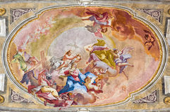 BRESCIA, ITALY, 2016: The Coronation of Virgin Mary fresco on the wault of presbytery of Sant'Afra church Stock Photo