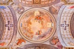 BRESCIA, ITALY, 2016: The cupola in church Chiesa di Christo Re with the frescoes by Vittorio Trainini Royalty Free Stock Image