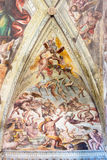 BRESCIA, ITALY, 2016: The detail of fresco of Last Judgment on the ceiling of church Chiesa del Santissimo Corpo di Cristo Stock Photo