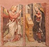 BRESCIA, ITALY, 2016: The fresco of Annunciation in church Chiesa di Santa Maria del Carmine by Brescian school of 15. cent. Stock Photos