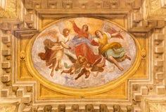BRESCIA, ITALY, 2016: The fresco of Assumption of Virgin Mary in church Chiesa di San Faustino e Giovita  by Tommaso Sandrino Stock Images