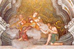 BRESCIA, ITALY, 2016: The fresco of cardinal virtue of Love in Chiesa di Santa Maria della Carita Stock Images