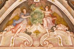 BRESCIA, ITALY, 2016: The fresco of cardinal virtue of Love in Chiesa di Santa Maria della Carita Royalty Free Stock Image