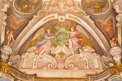 BRESCIA, ITALY, 2016: The fresco of cardinal virtue of Love in Chiesa di Santa Maria della Carita Stock Photography