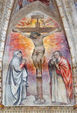 BRESCIA, ITALY, 2016: The fresco with the Crucifixion central motive in main apse of church Chiesa del Santissimo Corpo di Cristo Stock Images