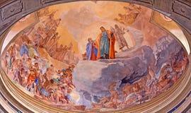 BRESCIA, ITALY, 2016: The fresco of Last Judgment on cupola in church Chiesa di Christo Re by Vittorio Trainini Royalty Free Stock Photos