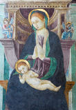 BRESCIA, ITALY, 2016: The fresco of Madonna in church Chiesa del Santissimo Corpo di Cristo by Paolo Caylina il Vecchio Royalty Free Stock Photography