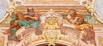 BRESCIA, ITALY, 2016: The fresco of Moses and king Salomon in Chiesa di Santa Maria della Carita Stock Photo