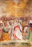 BRESCIA, ITALY, 2016: The fresco of Pentecost in church Chiesa di San Francesco d'Assisi by Girolamo Romani - Romanino Royalty Free Stock Image