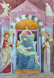 BRESCIA, ITALY, 2016:  The fresco of Pieta in church Chiesa del Santissimo Corpo di Cristo by  Paolo Caylina il Vecchio. BRESCIA, ITALY - MAY 21, 2016:  The Stock Image