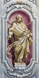 BRESCIA, ITALY, 2016: The fresco of prophet Jeremiah of Chiesa di Sant'Afra church by Sante Cattaneo Stock Photography