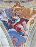 BRESCIA, ITALY, 2016: The fresco of st. John the Evangelist in cupola of Chiesa di Sant'Afra church by Antonio Mazza Royalty Free Stock Photos