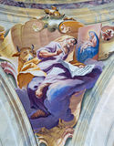 BRESCIA, ITALY, 2016: The fresco of st. Luke the Evangelist in cupola of Chiesa di Sant'Afra church by Antonio Mazza Royalty Free Stock Photography