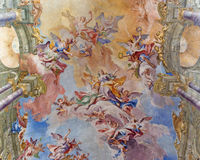 BRESCIA, ITALY: Glory of Santa Eufemia fresco on the vault of presbytery of Sant Afra church Stock Photos