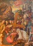 BRESCIA, ITALY, 2016: The Jesus meet his mother paint (Salita al Calvario) in Chiesa di San Pietro in Olvieto Stock Image