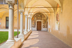 BRESCIA, ITALY - MAY 21, 2016: The atrium of church Chiesa del Santissimo Corpo di Cristo with the renaissance fresco Royalty Free Stock Photography