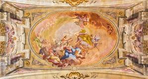 BRESCIA, ITALY - MAY 23, 2016: The Coronation of Virgin Mary fresco on the wault of presbytery of Sant` Afra church Stock Image
