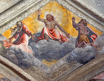 BRESCIA, ITALY - MAY 21, 2016: The fresco of Jesus with Virgin Mary and St. John the Baptist Royalty Free Stock Photography