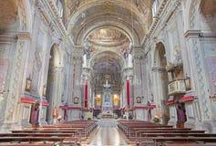 BRESCIA, ITALY - MAY 23, 2016: The nave of Sant`Afra church Royalty Free Stock Photos