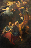 BRESCIA, ITALY - MAY 23, 2016: The painting Rest on the Flight into Egypt in church Chiesa di San Giovanni Evangelista Stock Images