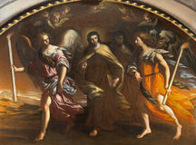 BRESCIA, ITALY - MAY 22, 2016: The painting St. Theresia guided with the angels in Chiesa di San Pietro in Olvieto Stock Images