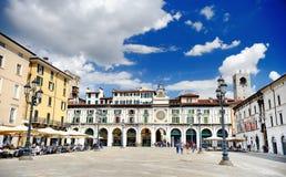BRESCIA, ITALY - MAY 15, 2017: The panorama of Piazza della Loggia square. At sunny day stock photo