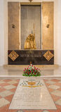 BRESCIA, ITALY - MAY 22, 2016: The statue of memorial of Pope Paul VI from Bresicia Giovani Battista Montini in Duomo Nuovo Royalty Free Stock Images
