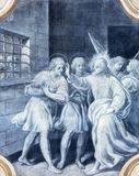 BRESCIA, ITALY, 2016: The monochromatic fresco of First christian martyrs in Brixia with the angels Royalty Free Stock Photography