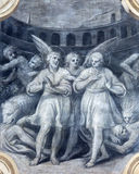 BRESCIA, ITALY, 2016: The monochromatic fresco of First christian martyrs among the lions in colosseum Stock Images