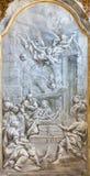 BRESCIA, ITALY, 2016: The monochromatic fresco of Nativity in church Chiesa di Santa Maria del Carmine. BRESCIA, ITALY - MAY 22, 2016: The monochromatic fresco Royalty Free Stock Photos
