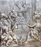 BRESCIA, ITALY, 2016: The monochromatic fresco of Nativity in church Chiesa di Santa Maria del Carmine Stock Photography