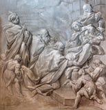 BRESCIA, ITALY, 2016: The monochromatic fresco of Three Magi in church Chiesa di Santa Maria del Carmine. BRESCIA, ITALY - MAY 22, 2016: The monochromatic fresco Stock Image