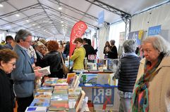 Book Fair in Brescia `Librixia` untranslatable. Bookstores large and small display their best books. Royalty Free Stock Image