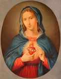 BRESCIA, ITALY, 2016: The old printed image of Heart of Virgin Mary in Chiesa di San Pietro in Olvieto from end of 19. cent. Royalty Free Stock Photo