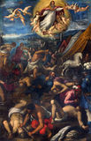 BRESCIA, ITALY, 2016: The paint of battle by unknown artist in Sant'Afra church Royalty Free Stock Images