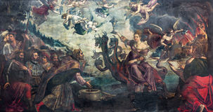 BRESCIA, ITALY, 2016: The painting of Apocalyptic vision The courtesan Babylon sitting on the dragon. BRESCIA, ITALY - MAY 23, 2016: The painting of Apocalyptic Stock Images