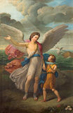 BRESCIA, ITALY, 2016: The painting of Archangel Raphael and Tobias in church Chiesa di San Zeno al Foro by unknown artist Royalty Free Stock Image