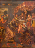BRESCIA, ITALY, 2016: The painting of Birth of Virgin Mary in church Chiesa di San Pietro in Olvieto by Pompeo Ghitti. BRESCIA, ITALY - MAY 22, 2016: The Stock Images