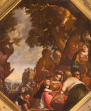 BRESCIA, ITALY, 2016: The painting of Gatering the Manna in church Chiesa di San Faustino e Giovita by unknown artist Stock Photography