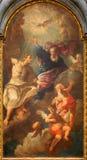 BRESCIA, ITALY, 2016: The painting of Holy Trinity in church in church Chiesa di San Francesco d'Assisi by Giuseppe Tortelli Stock Photos